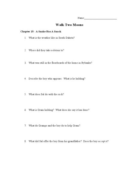 Printables Walk Two Moons Worksheets walk two moons chapters 15 16 6th 10th grade lesson plan planet
