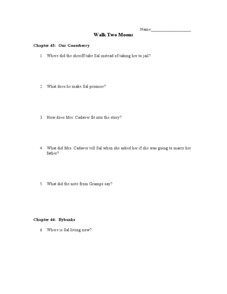 Walk Two Moons Chapters 43-44 7th - 10th Grade Lesson Plan ...