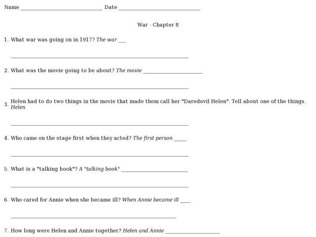 War- Chapter 8 (Helen Keller) 2nd - 3rd Grade Worksheet | Lesson ...