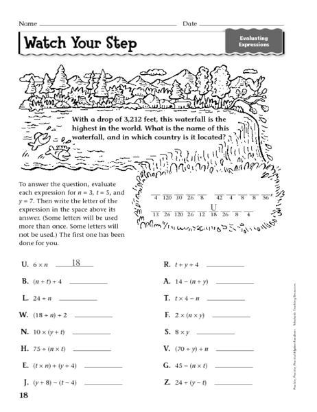 Printables Evaluate Expressions Worksheet watch your step evaluating expressions 6th 9th grade worksheet lesson planet
