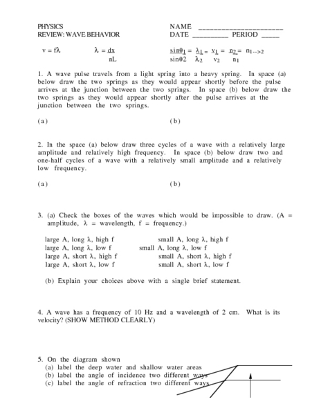 Printables Properties Of Light Worksheet wave characteristics worksheet intrepidpath properties of light waves worksheets
