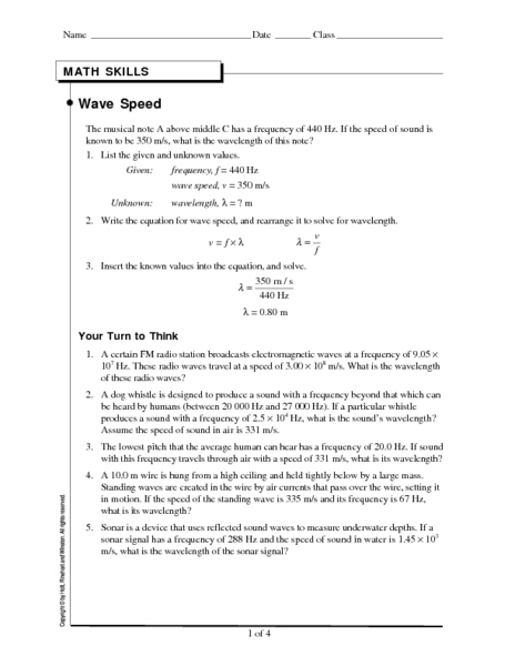 Worksheets Wave Speed Worksheet wave speed 9th 12th grade worksheet lesson planet