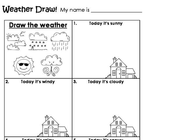math worksheet : weather draw! kindergarten  2nd grade worksheet  lesson pla  : Kindergarten Weather Worksheets