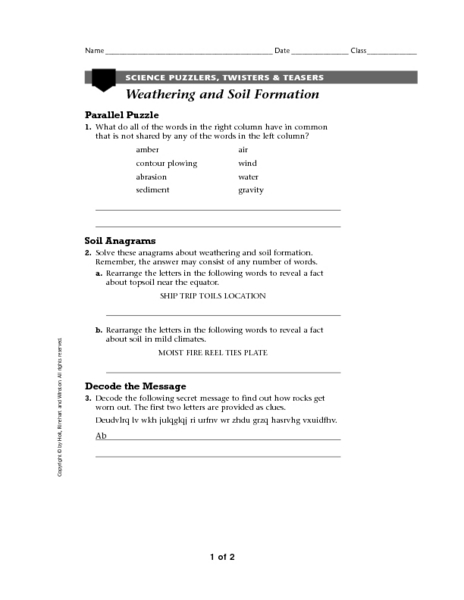 Collection Weathering And Soil Formation Worksheet Photos ...
