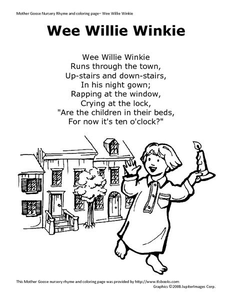 Wee Willie Winkie Coloring Page Wee Willie Winkie Pre-k
