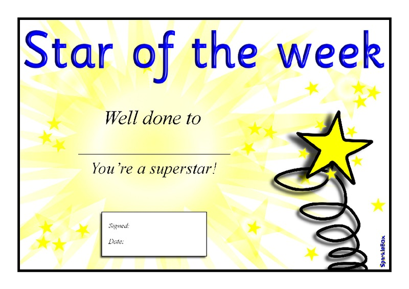 Star Of The Week Certificate Template Image Collections Template