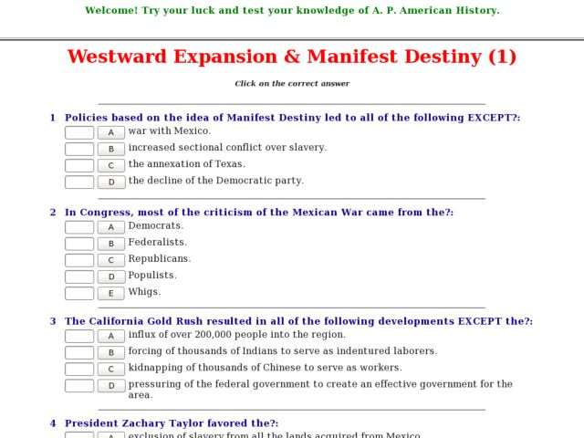 Manifest Destiny And The Mexican War Worksheet Answers - Worksheets