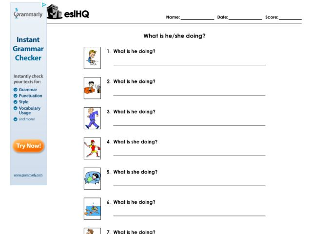 What is he/she doing? Higher Ed Worksheet | Lesson Planet