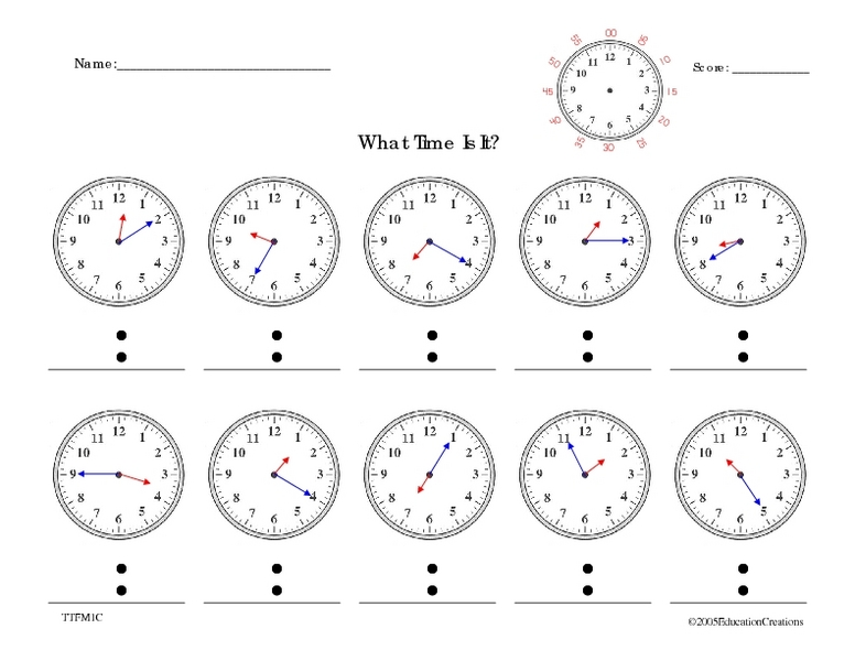 Common Worksheets » Telling Time To Five Minutes Worksheet ...
