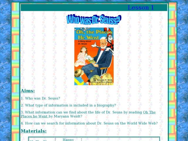 Who is dr seuss lesson plan