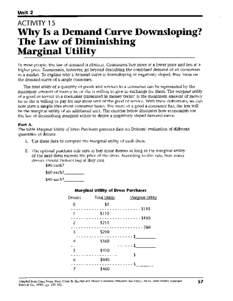 Printables Demand Curve Worksheet why is a demand curve downsloping the law of diminishing marginal utility 11th 12th grade worksheet lesson planet