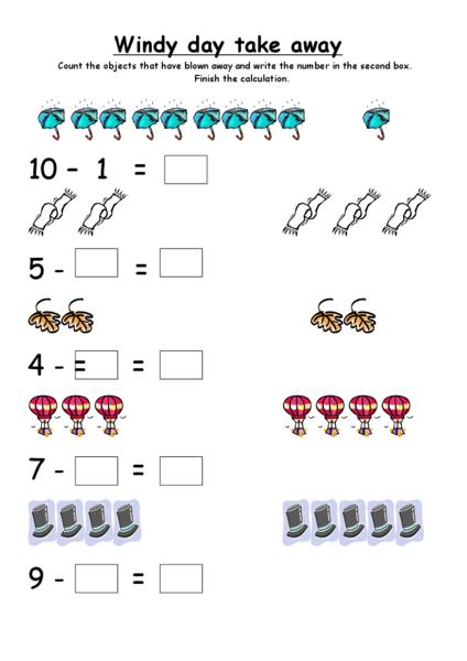 Common Worksheets take away worksheet : Windy Day Take Away Kindergarten - 1st Grade Worksheet | Lesson Planet