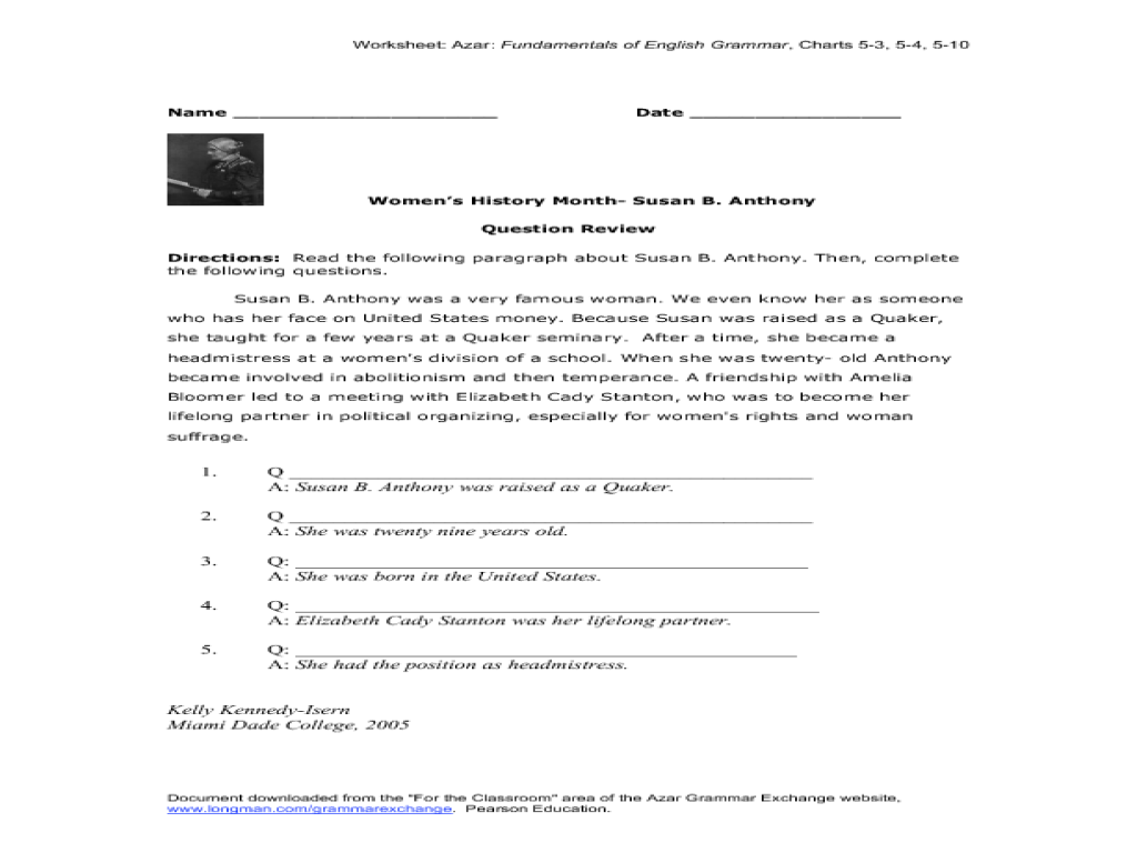Black history month worksheets 5th grade