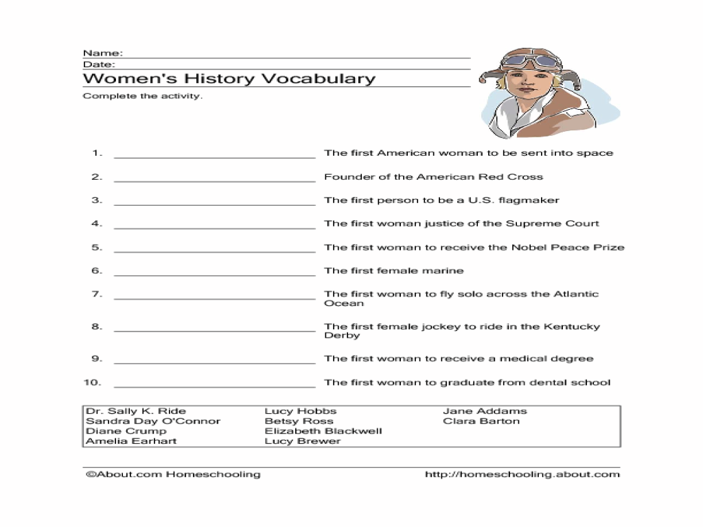 Printables 6th Grade Vocabulary Worksheets womens history vocabulary 3rd 6th grade worksheet lesson planet