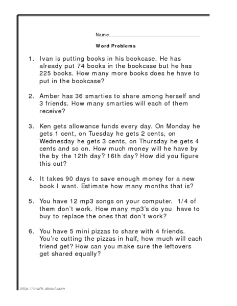 Division And Multiplication Word Problems Worksheets  Word