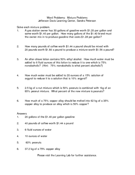 Mixture Problems Worksheet - Synhoff