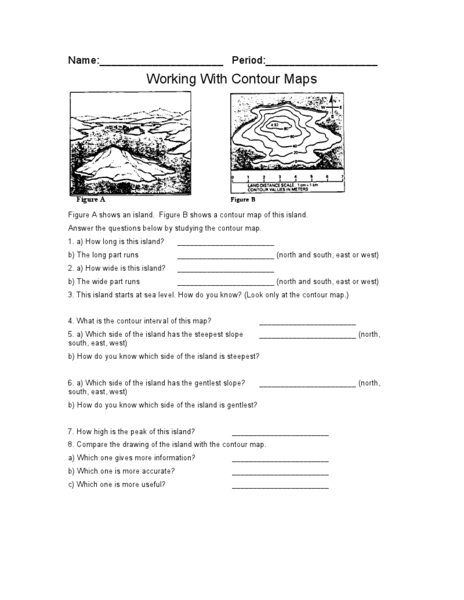 Worksheets Topographic Map Worksheet Answers earth science topographic map worksheet answer key intrepidpath working with contour maps 9th 12th grade lesson pla