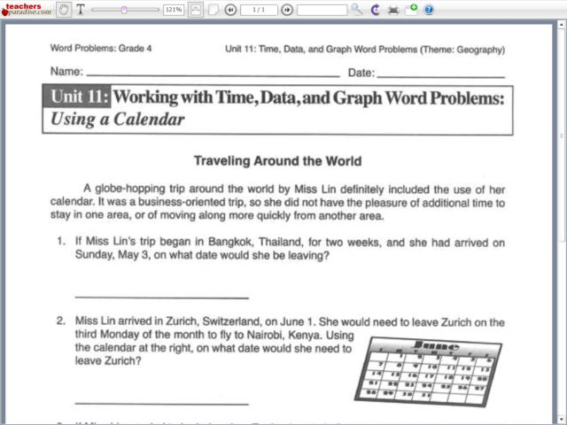 Working With Time, Data, and Graph Word Problems: Using a Calendar ...