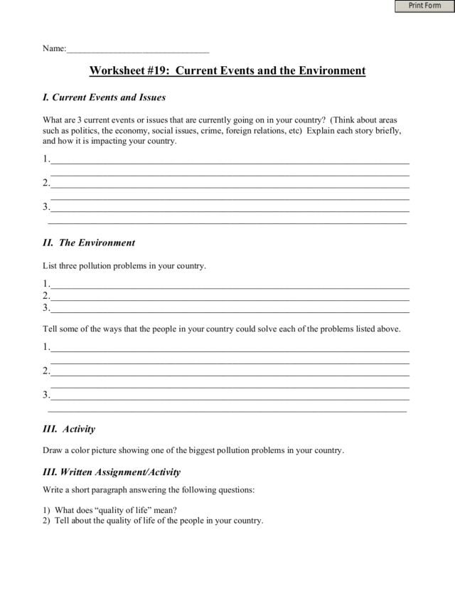 Worksheet 19 Current Events and the Environment 4th 8th Grade – Current Event Worksheet