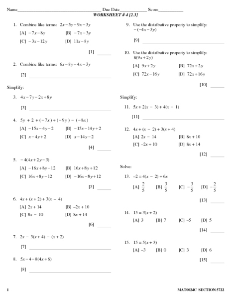 Simplifying algebraic expressions worksheets 8th grade