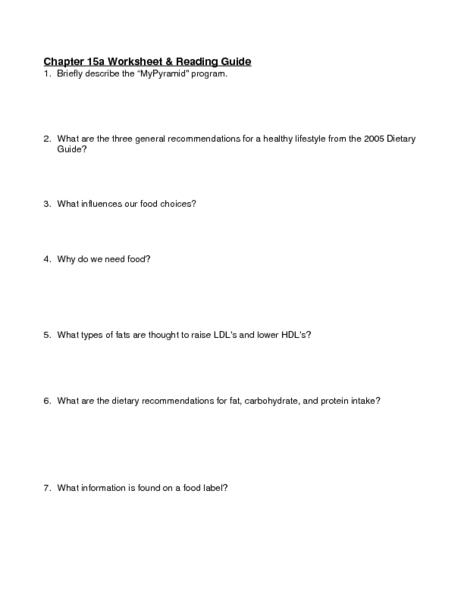 "Worksheet & Reading Guide - ""MyPyramid"" 9th - 12th Grade Worksheet ..."