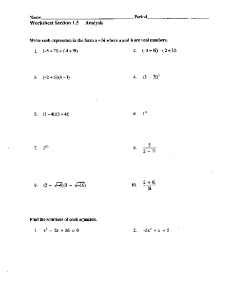 Printables Complex Numbers Worksheet worksheet section 1 5 analysis real and imaginary numbers 10th 12th grade lesson planet