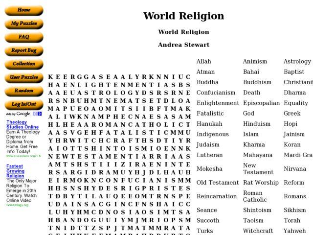 Comparison World Religions World Religion Word Search 5th