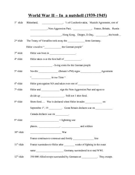 Printables World War Ii Worksheets world war 2 worksheet davezan ii in a nutshell 8th 12th grade lesson