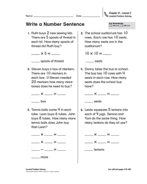 Worksheet Number Sentence Worksheets 2nd Grade write a number sentence 2nd 3rd grade worksheet lesson planet