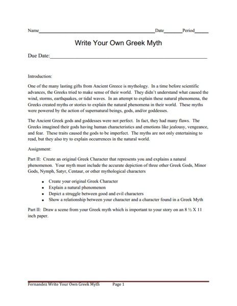Myth writing assignment