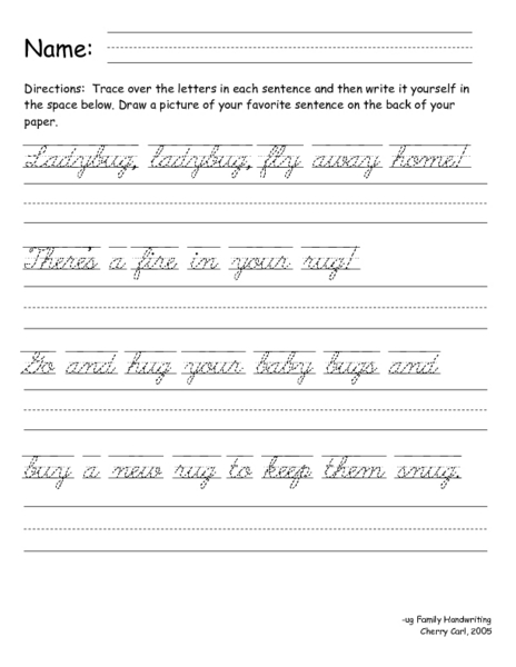 3rd Grade Handwriting Worksheets : Cursive writing practice worksheets sentences