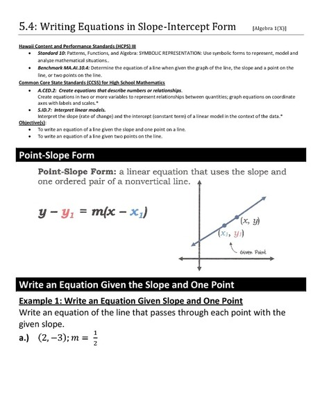 Writing Equations In Slope Intercept Form From Graph Worksheet  writing equation in slope