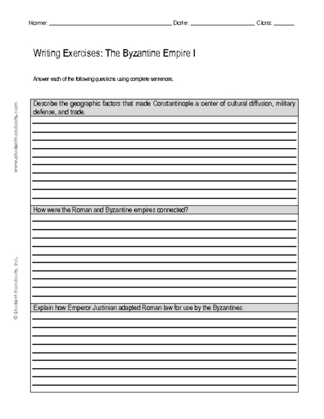 Writing Exercises: The Byzantine Empire I 9th - 11th Grade ...