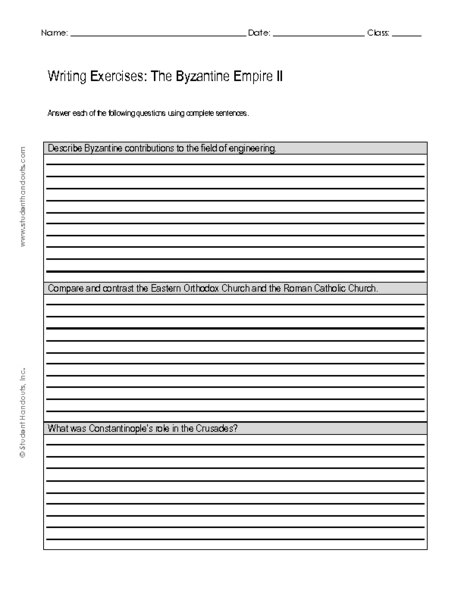 Writing Exercises: The Byzantine Empire II 9th - 12th Grade ...