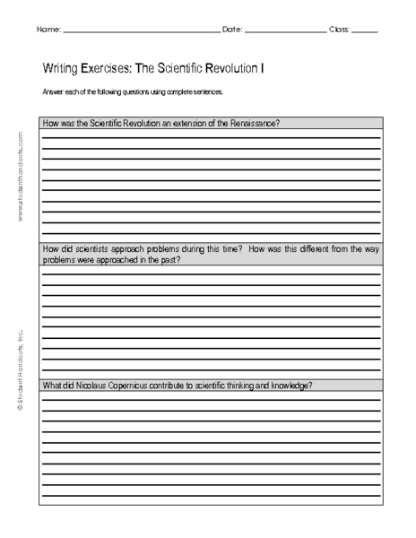 Printables Scientific Revolution Worksheet writing exercises the scientific revolution i 7th 9th grade worksheet lesson planet