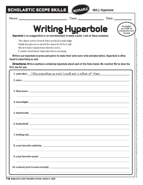 Worksheet Hyperbole Worksheets writing hyperbole 6th 10th grade worksheet lesson planet