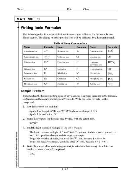 worksheets writing ionic formulas worksheet opossumsoft worksheets and printables. Black Bedroom Furniture Sets. Home Design Ideas