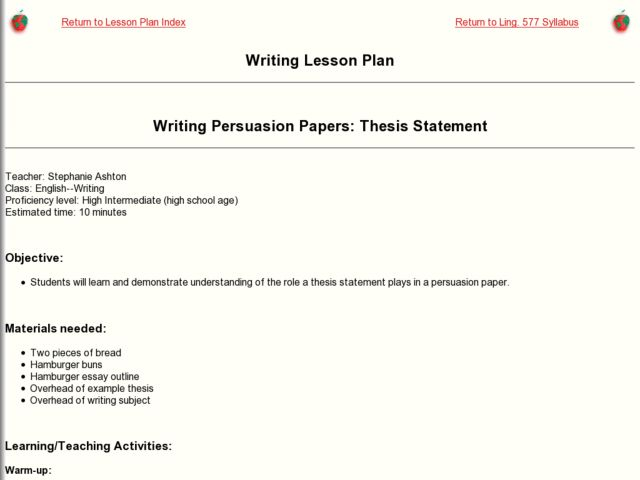 lesson plan for thesis statement (ryan wepler, english department) objectives: to model the components of an effective intro paragraph in a comparative literature essay to give students practice revising their own introductory paragraphs to expose students to one another's writing techniques using peer review.