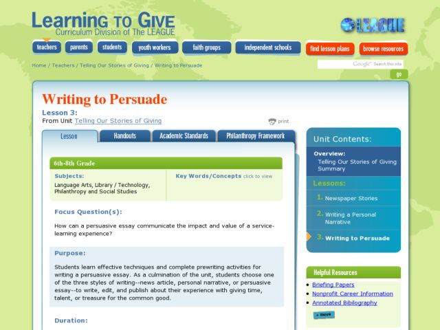 persuasion essay writing lesson plans Persuasive writing lesson plans and teaching resources - free english learning and teaching resources from varsity tutors students explore and understand the use of transition words in context and write their own persuasive essay using transition words includes printable handout this lesson is designed for grades.