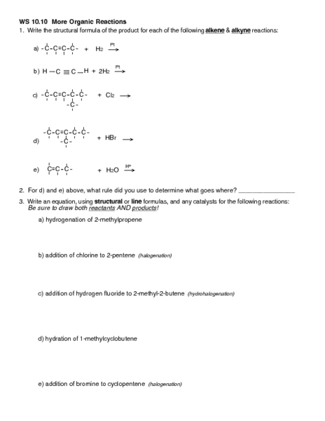 WS 12.8 More Organic Reactions 12th - Higher Ed Worksheet | Lesson ...