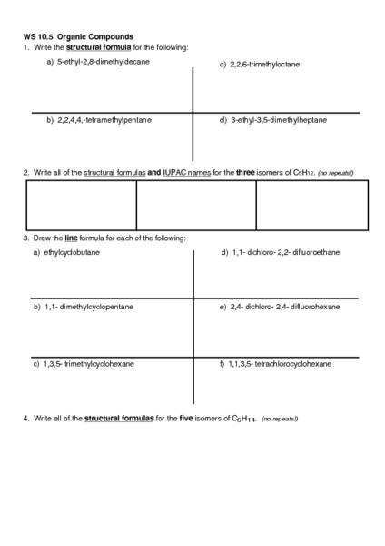 Worksheets Structure Of Organic Compounds Worksheet ws 10 5 organic compounds higher ed worksheet lesson planet