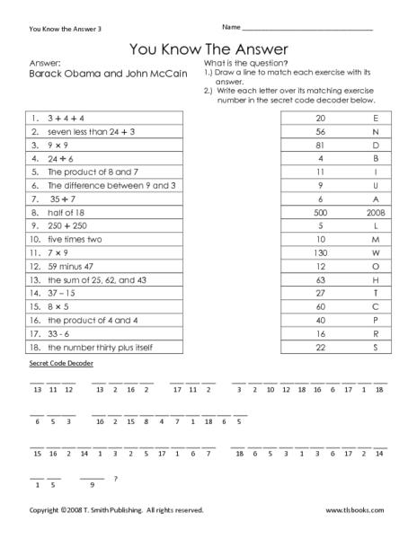 Math brain teaser worksheets 6th grade