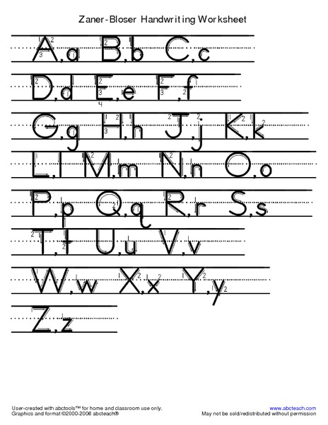 Printables Zaner Bloser Handwriting Worksheets zaner bloser handwriting worksheet pre k 1st grade printables template lesson planet