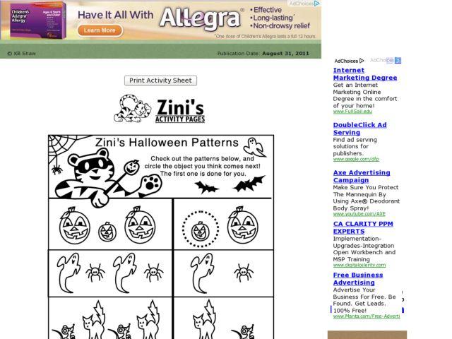 Zini's Halloween Patterns 1st - 2nd Grade Worksheet | Lesson Planet