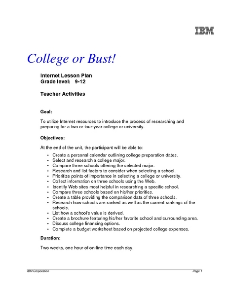 College or Bust? Lesson Plan