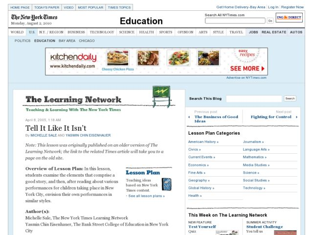 The Learning Network: Re-envisioning Classic Stories Lesson Plan