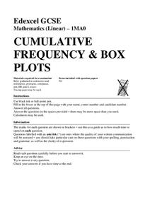 cumulative frequency and box plots worksheet for 9th 12th grade lesson planet. Black Bedroom Furniture Sets. Home Design Ideas