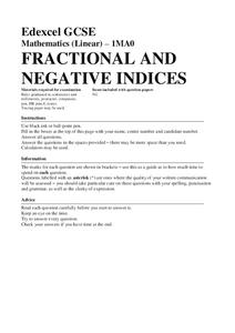 fractional and negative indices assessment for th  th grade  fractional and negative indices assessment