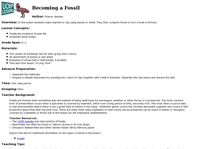 Forming Fake Fossils Lesson Plan