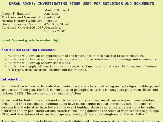 Urban Rocks: Investigating Stone Used for Buildings and Monuments Lesson Plan